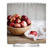 Red Apples Still Life Shower Curtain