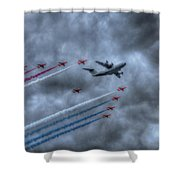 Red Arrows And A400m Airbus Shower Curtain