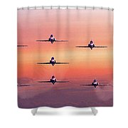 Red Arrows At Dawn Shower Curtain