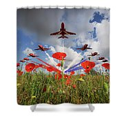 Red Arrows Poppy Fly Past Shower Curtain