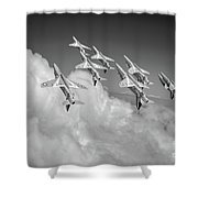 Red Arrows Sky High Bw Version Shower Curtain