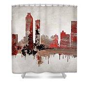 Red Atlanta Georgia Skyline Shower Curtain
