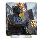 Red Auerbach Chilling At Fanueil Hall Side Shower Curtain