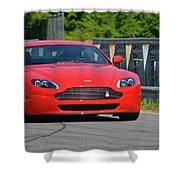Red Auston Martin Leaving Pit Lane Shower Curtain