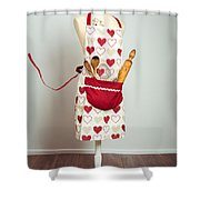 Red Baking Apron Shower Curtain