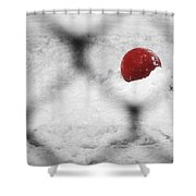 Red Ball In The Snow Shower Curtain