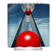 Red Balls From Space Shower Curtain