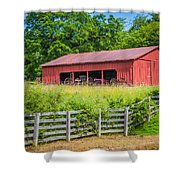 Red Barn Along The Fence Shower Curtain