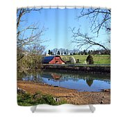 Red Barn And Pond Shower Curtain
