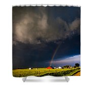 Red Barn And Rainbow Shower Curtain