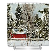 Red Barn At Christmas Shower Curtain