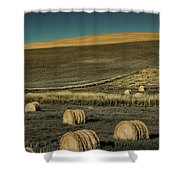 Red Barn At Haying Time Shower Curtain