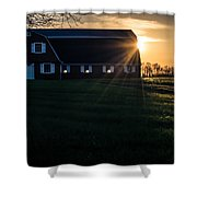 Red Barn At Sunset Shower Curtain