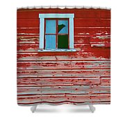 Red Barn Broken Window Shower Curtain