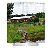 Red Barn By The Lake Shower Curtain