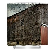 Red Barn Doors Shower Curtain by Stephanie Calhoun