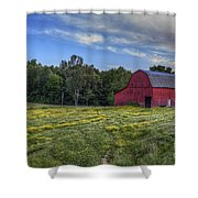 Red Barn In A Yellow Field  Shower Curtain