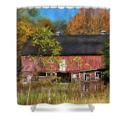 Red Barn In October Shower Curtain