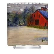 Red Barn In Snow  Shower Curtain by Steve Jorde