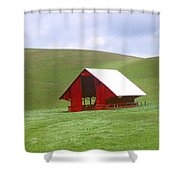 Red Barn In Spring Shower Curtain