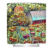 Red Barn In Summer Shower Curtain