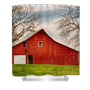 Red Barn In The Blue Sky Shower Curtain