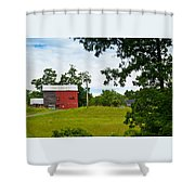 Red Barn In Upper  New York State. Shower Curtain