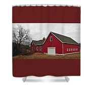 Red Barn On A Grey Day Shower Curtain