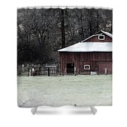 Red Barn On The Drive Shower Curtain