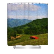 Red Barn On The Mountain Shower Curtain