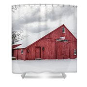 Red Barn On Wintry Day Shower Curtain