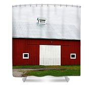 Red Barn- Photography By Linda Woods Shower Curtain