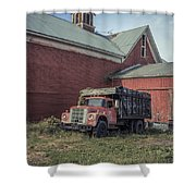 Red Barn Red Truck Shower Curtain