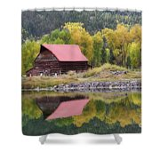 Red Barn Reflections Shower Curtain