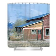 Red Barn, Route 50, Nevada Shower Curtain