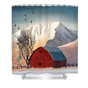 Red Barn Snow Western - Countryside Painting Shower Curtain