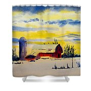 Red Barn Sunrise Shower Curtain