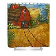 Red Barn- Wheat Field- Down Home Shower Curtain