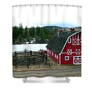 Red Barn Shower Curtain by Will Borden