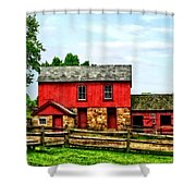 Red Barn With Fence Shower Curtain