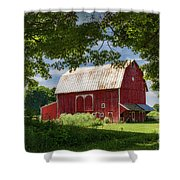 Red Barn With White Arched Door Trim Shower Curtain