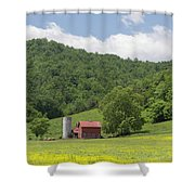 Red Barn Yellow Buttercups Shower Curtain