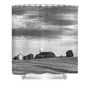 Red Barns Bw Shower Curtain