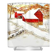 Red Barns Shower Curtain