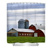 Red Barns Of 3 Shower Curtain