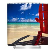 Red Beach Chair Shower Curtain