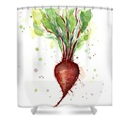 Red Beet Watercolor Shower Curtain