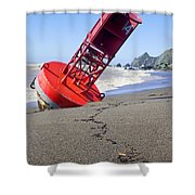 Red Bell Buoy On Beach With Bottle Shower Curtain