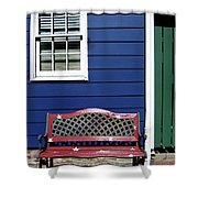 Red Bench Blue House Shower Curtain