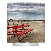 Red Bench On A Beach Shower Curtain